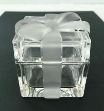 Tiffany and Co. Crystal Trinket Box with Frosted Bow