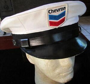 VINTAGE  RARE ORIGINAL CHEVRON GAS STATION SERVICEMAN'S WHITE CAP WITH VISOR