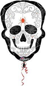 "18"" Foil Balloon Halloween Day of Dead Decoration Skeleton Skull Party Treat"