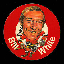 1973-74 MAC'S MILK NHL BILL WHITE BLACK HAWKS NM CLOTH STICKER HOCKEY DISC CARD