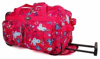 """26"""" Pink Wheeled Holdall Suitcase Travel Flight Bag For Holiday Weekend Luggage"""