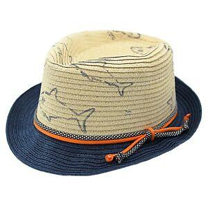 Boys Summer Straw Trilby Style Hat Shark Print Navy Orange 24-48 Months