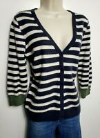 M&S 100% PURE CASHMERE JUMPER CARDIGAN M NAVY WHITE GREEN STRIPED 3/4 SLEEVE 521