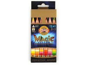 12 Magic Colouring Pencils Set Koh-i-Noor Sharpener Eraser Blender Artist Travel