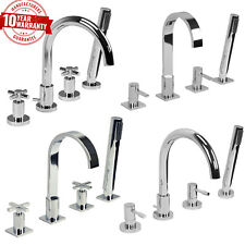 Modern 4 Hole Bath Shower Mixer Taps Chrome, Single lever, Cross Head Handles