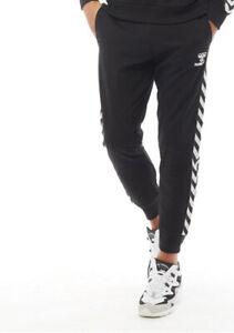Hummel Mens Tape Logo Sweat Pants joggers Black/White Sizes new