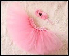 Baby Girl Valentine Rose Tutu Skirt & Headband Photo Prop Costume Outfit 0-6m