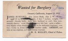 1912 Reward Postcard for Burglary Sheriff of Oxnard  CA to SF Police