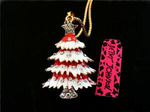 Betsey Johnson Crystal Enamel Cute Christmas tree Pendant Necklace