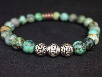 Afrik. Türkis Armband Bracelet Perlenarmband Silber Beads Buddha grün matt