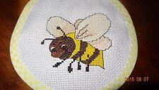 Baby Bib New Bee Handmade Yellow Finished Cross Stitch Feeding Unisex Girl Boy
