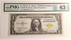 1935 A $1 SILVER CERTIFICATE NORTH AFRICA FR.2306 IC BLOCK PMG CU 63 EPQ (057C)