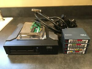 DELL POWERVAULT LTO-3 External TAPE DRIVE WITH SCSI CARD, CABLES & 4 TAPES