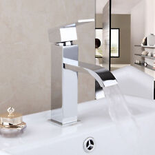 Deck Mount Waterfall Bathroom Single Handle Basin Mixer Tap Lavatory Sink Faucet