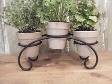 Herb Kitchen Garden Bridge 3 Pot Wrought Iron Kit Window Planter Display Fresh