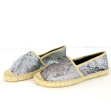 YAYA Damen Espadrilles Schuhe Gold Metallic Pailletten Bast