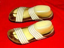 Women's BIRKI'S Tan & Ivory Striped SANDALS Size 7