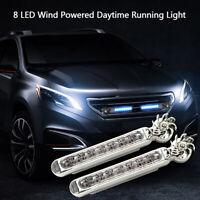 1Pcs Wind Powered 8 LED Car DRL Daytime Running Light Fog Warning Auto Head  HO