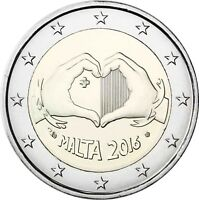 Malta 2 Euro 2016 Liebe Kinder und Solidarität in Kapsel von Historia Hamburg