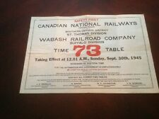 CNR Canadian National Railways St. Thomas Div/Wabash Buffalo Div ETT - 1945