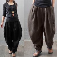 ZANZEA Womens High Waist Harem Pants Casual Loose Baggy Plain Trousers Plus Size