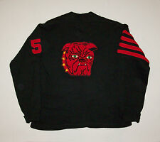 Old vtg 1950's Letterman Sweater GREAT BULLDOG PATCH Varsity Button Front Wool