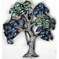 Vintage Antique 4.79cts Rose Cut Diamond Gemstone Jewelry Silver Tree Brooch Pin