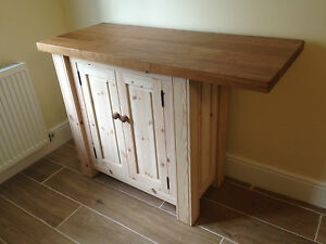 HANDMADE SOLID PINE KITCHEN ISLAND with SOLID OAK WORKTOP