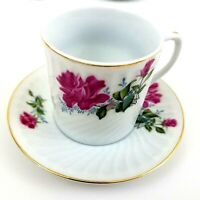 Demitasse Fine Porcellan Rose Swirl China Cups and Saucers Set of 6 Gold Trim