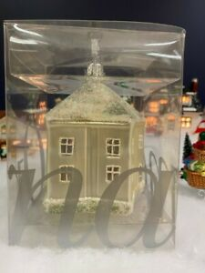 RARE NEW Crate & Barrel German Glitter Glass Star House Ornament Christmas Tree