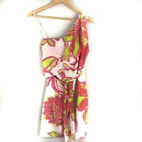 Lilly Pulitzer Kendall Dress Size 0 One Shoulder Pink Green You Can't Contain Me