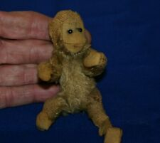 "Antique Steiff Monkey ~ 4 1/2"" With Button Tag & Eyes & Label ~ Mini Jocko"