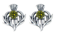 Sterling Silver Thistle Stud Earrings with a May Birthstone Centre