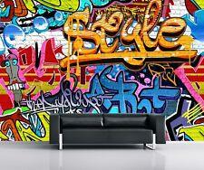 1Wall Brightly Coloured Street Graffiti Feature Wallpaper Mural, Wood, 3.15 x m