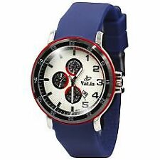 Valia Men's Blue Rubber Strap Watch 8200-1 (White)
