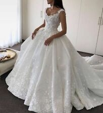 Ball Gown Floral Lace White/Ivory Bridal Gown Wedding Dress Custom size 2-20++
