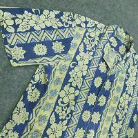 Vtg ROYAL CREATIONS Hawaiian Shirt USA Turtle Floral Tapa Print Blue Men's XL