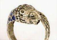 ANTIQUE STERLING SILVER JAGUAR TIGER LION RING WITH BLUE ENAMEL SIZE 8 FINE !