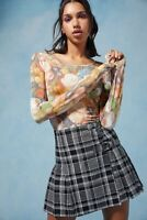 Anna Sui & Urban Outfitters Floral Stretch Long Sleeve Top Muted Garden XS NWT