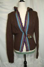 Free People Brown Hooded Cardigan, Boho, Floral Button & Hook Closure, Sz Medium