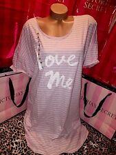 Victorias Secret Cotton Sleepshirt Nightie Love Me Striped Pink XL
