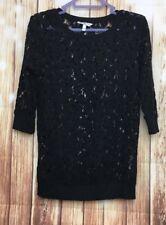 Women's Ladies NEW LOOK Black Lace 3/4 Sleeve Crew Neck Casual T-shirt Top UK 10