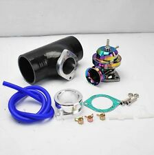 """NEO CHROME TURBO TYPE-RS BOV BLOW OFF VALVE +2.5"""" BLACK SILICONE COUPLER ADAPTER"""