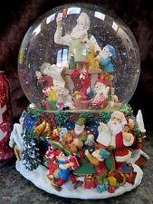 HP MUSICAL Christmas SANTA Elves LG Water Snow Globe Ball REVOLVING Inner Base!