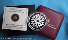 Canadá 2011 Swarovski Cristal Copos de Nieve 1oz Plata Prueba $20 moneda Esmeralda