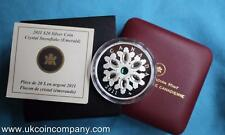 2011 Canada Swarovski Crystal Fiocchi di neve 1oz Argento a Prova Di $20 MONETA Smeraldo