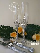 Swarovski Crystal Personalized Wedding Toast Glass Silver Bling Sparkle Romantic