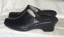 "NEW  **CLARKS**  Women's Black Leather Clog Wedge 2 1/2"" Heel, US.8.5 M, Euro 39"