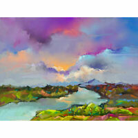 Contemporary Colourful Landscape Large Wall Art Print 18X24 In