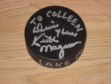 1987 Keith Magnuson Signed Lake Placid Can-Am Ice Hockey Tournament Game Puck